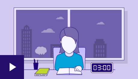Illustration of a lady reading a book at a desk